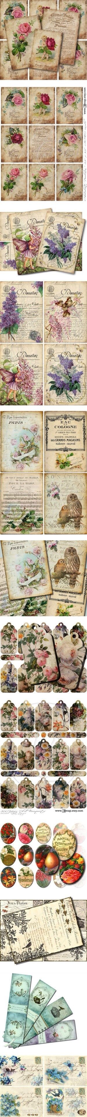 Vintage printables you can purchase on etsy for immediate download, these are designed so hence the paid download lol