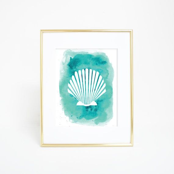 Looking to add some beach style to your home decor? This aqua blue watercolor sea shell print is a great way to bring the ocean into your decor.