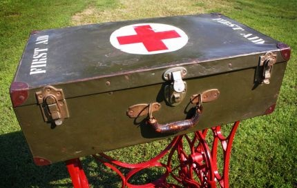 Repurposed WWII Military First Aid Storage Suitcase Table w/ Sewing Machine Base & Yardsticks - JUNKMARKET Style