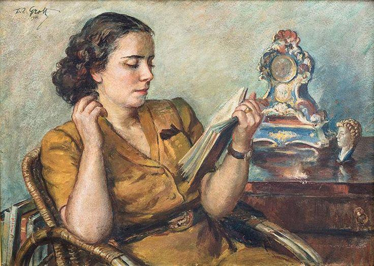 Teodor Grott: Portret pani Izabeli, 1914 r. olej, płyta, 47 × 69 cm sygn. i dat. p.g.: Teodor Grott/1914