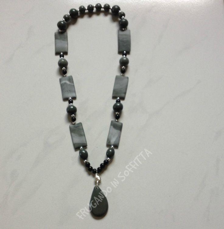 collana con  perle fatte a mano in pasta gabrylea