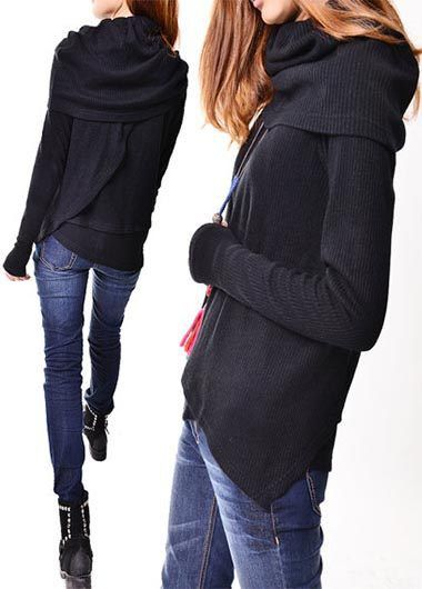 Cowl Neck Black Long Sleeve Asymmetric Sweater on sale only US$32.57 now, buy cheap Cowl Neck Black Long Sleeve Asymmetric Sweater at lulugal.com