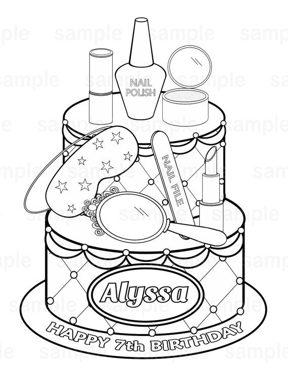 Personalized Printable Spa party  cake Favor by SugarPieStudio, $2.00