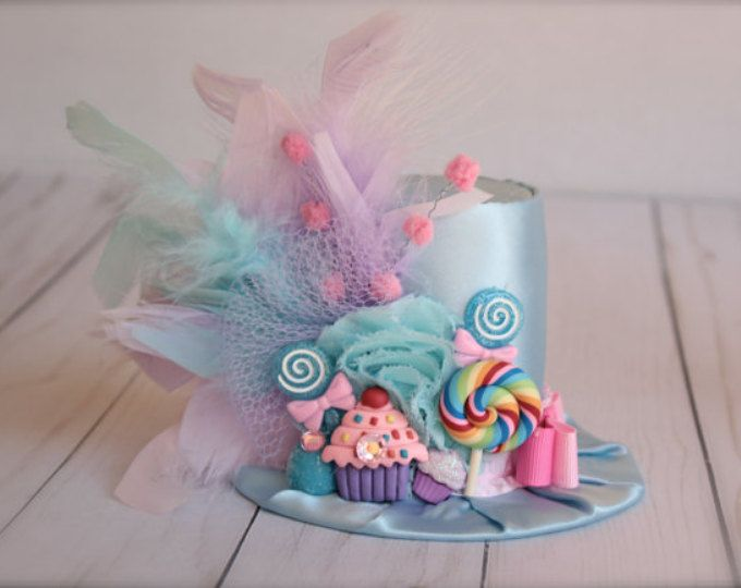 Light Blue Purple Candy Party - Candyland Inspired with Cupcakes Gumdrop and Lollipops BIRTHDAY Mini Top Hat Headband (or fascinator)