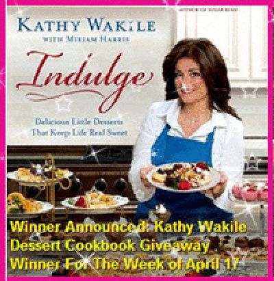Winner Announced: Kathy Wakile Dessert Cookbook Giveaway Winner For The Week of April 17th... Please read more and let's hear your thoughts at: http://allaboutthetea.com/2015/04/18/winner-announced-kathy-wakile-dessert-cookbook-giveaway-winner-for-the-week-of-april-17/