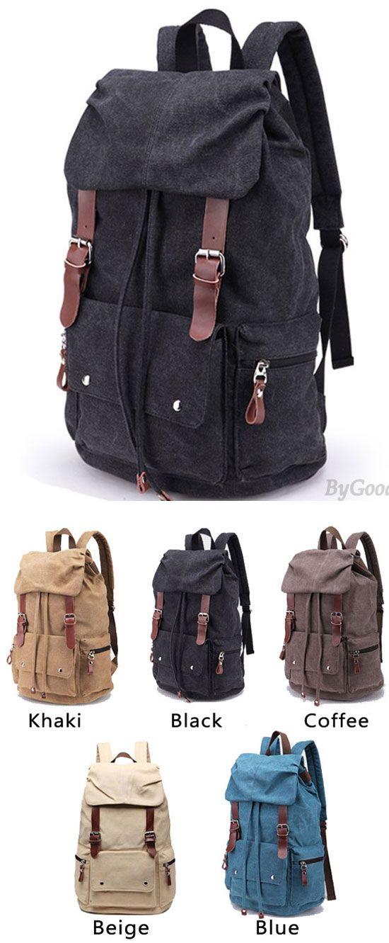 Retro Large Laptop Rucksack Travel School Bag Travel Bags Thick Canvas Backpack for big sale! #Backpack #large #backpack #Bag #school #college #student #rucksack