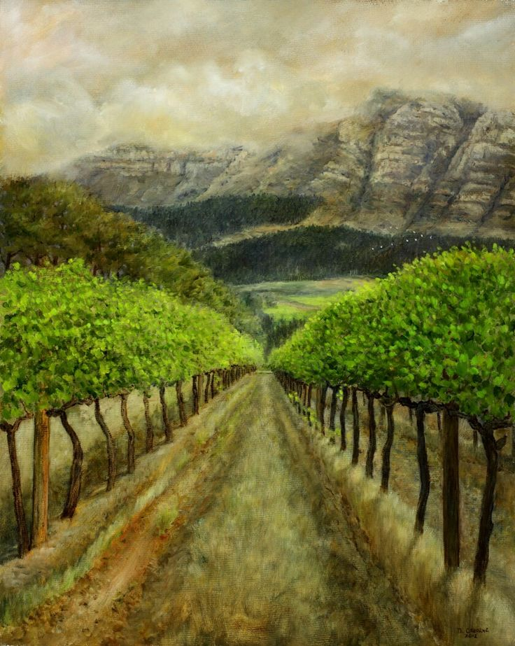 Constantia Uitsig Chardonnay Vineyard (Plein Aire) - Oil on Board. 40 x 50 cm.A plein air study of the Chardonnay Vineyard on Constantia Uitsig for a larger painting in the studio. I worked on this farm for a few years, just a 15 minute walk from my house. I loved walking through the vines on a cool evening. A flock of Sacred Ibis fly on their way home in the distance.