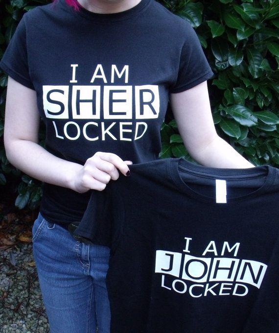 I am SHERlocked / I am JOHNlocked (BBC Sherlock) T Shirt. £13.99, via Etsy.  Eeep! I need this!!