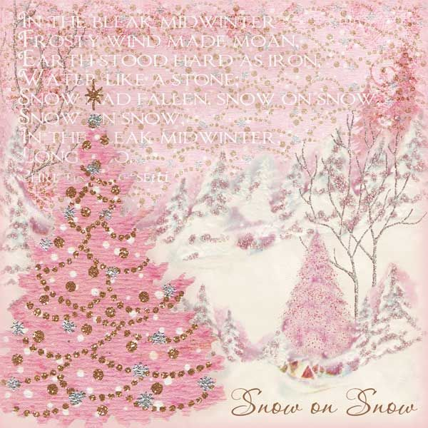 Christmas •~• vintage pink tree greeting card