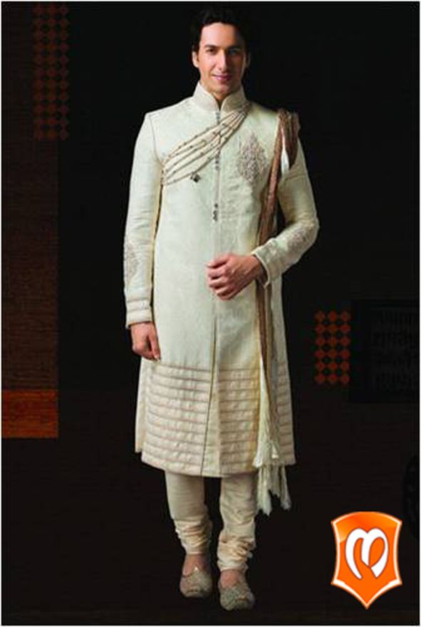 Do you have the confidence to carry off this spectacularly accessorized white #Sherwani?