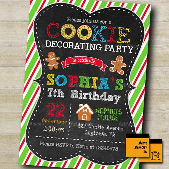 Cookie Decorating Invitation Holiday Christmas Cookie by ArtAmoris
