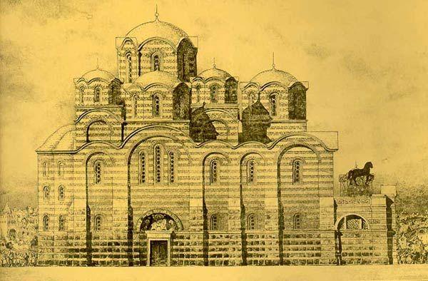 Десятинная церковь в Киеве (991 — 996). Реконструкция северного фасада