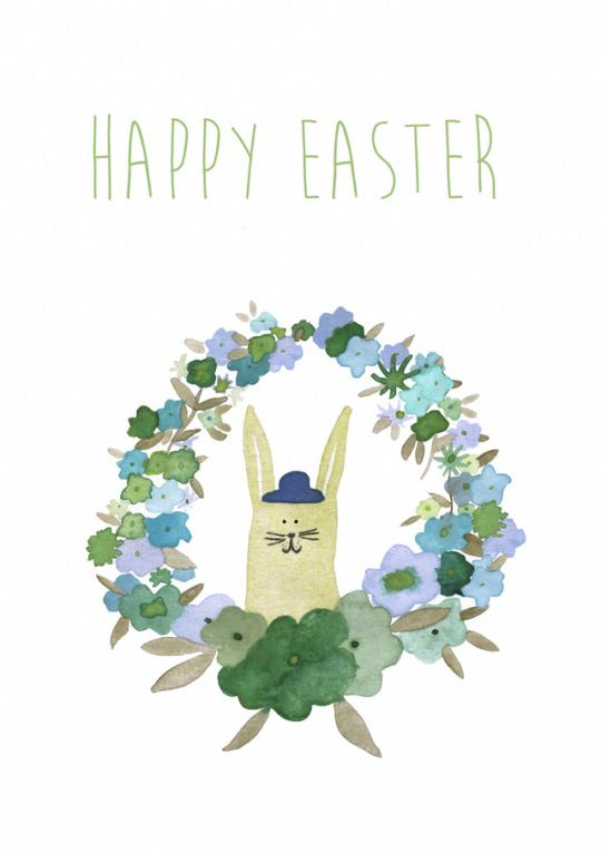 Jelena Matriszenka #illustration #bunny #easter #easterbunny #flowers #watercolors #watercolours #watercolorillustration #spring #children #illustration #giftcard