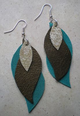 Instructions to make cute leather earrings - bet I could make these out of shrinky dinks too!