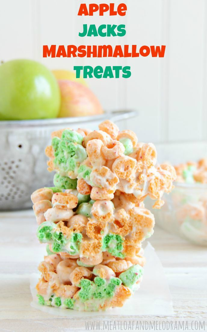 Apple Jacks Marshmallow Treats - a fun, easy no-bake recipe using Apple Jacks cereal and marshmallows