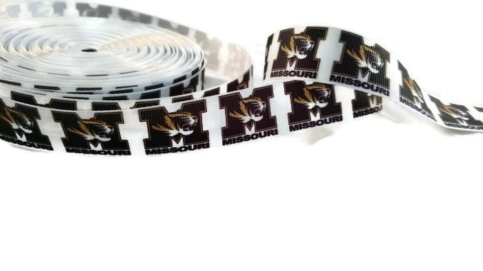 MU Missouri University Mizzou Grosgrain Printed Ribbon - 5 Yards