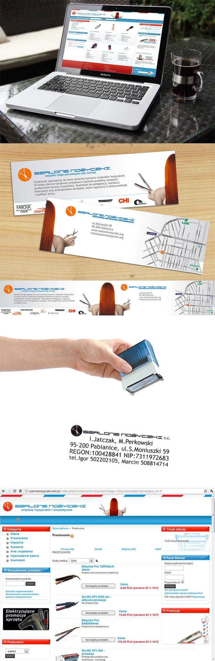Sklep internetowy oparty o system VirtueMart oraz zestaw materiałów reklamowych dla hurtowni artykułów fryzjerskich z Pabianic.