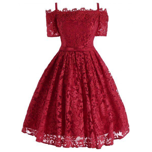 Floral Lace Cold Shoulder Bowknot Formal Dress - Red L Mobile