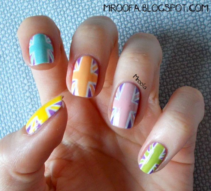 Pastel British Flag Nails