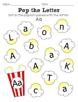 Letter recognition worksheets, perfect for National Popcorn Day on January 19 Dot the Letter- Popcorn Themed
