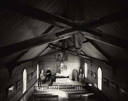 Laurence Aberhart Interior, from the upstairs gallery, Catholic church, Motukaraka, Hokianga Harbour, Northland, 4 May 1982