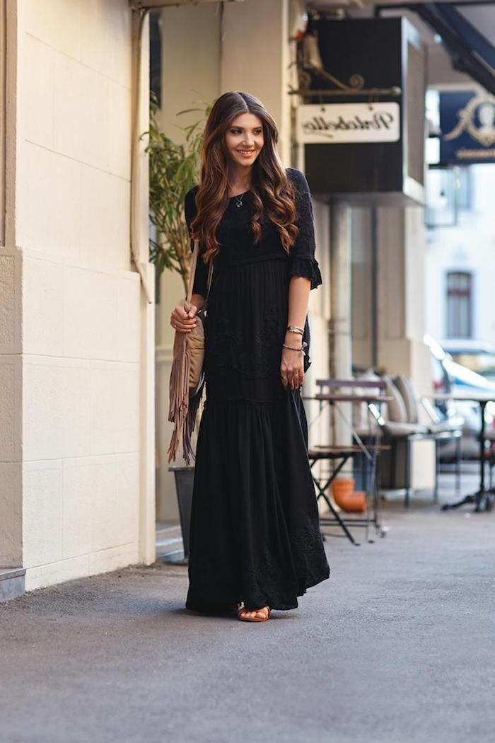 08b914cec95 Robe longue boheme robe longue fendue tendance bohème chic femme style noire  longue robe avec manche
