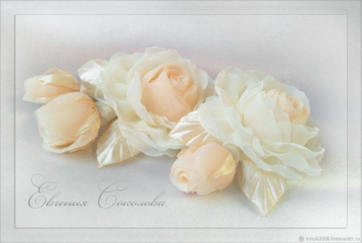 Цветы в прическу Розы – купить в интернет-магазине на Ярмарке Мастеров с доставкой