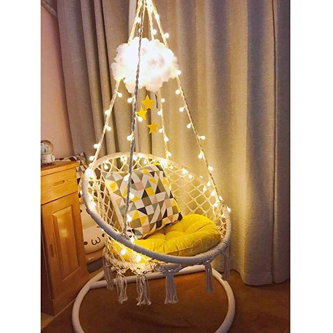 Amazon Com Sonyabecca Led Hanging Chair Light Up Macrame Hammock Chair With 39ft Led Light For Indoor Outd Hammock Swing Chair Hanging Egg Chair Hammock Chair