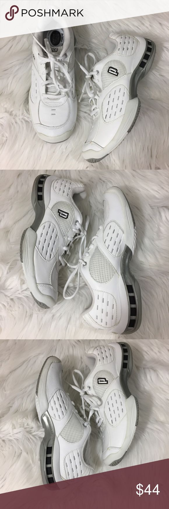 Prince tennis athletic court sneaker white size 8 Prince tennis court shoe light speed technology size 8.  EUC, only worn for a few matches at clubs that require all white.   • Posh Ambassador • smoke and pet free home • fast shipping! Prince Shoes Athletic Shoes