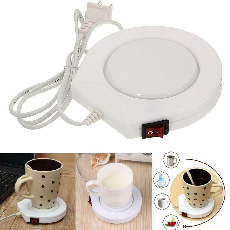 220v White Electric Powered Cup Warmer Heater Pad Coffee Tea Milk Mug US Plug #White