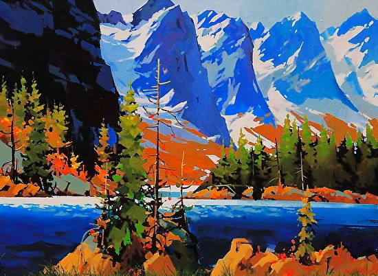 "Moraine Lake in blue by Michael O'Toole Acrylic ~ 30"" x 40"""