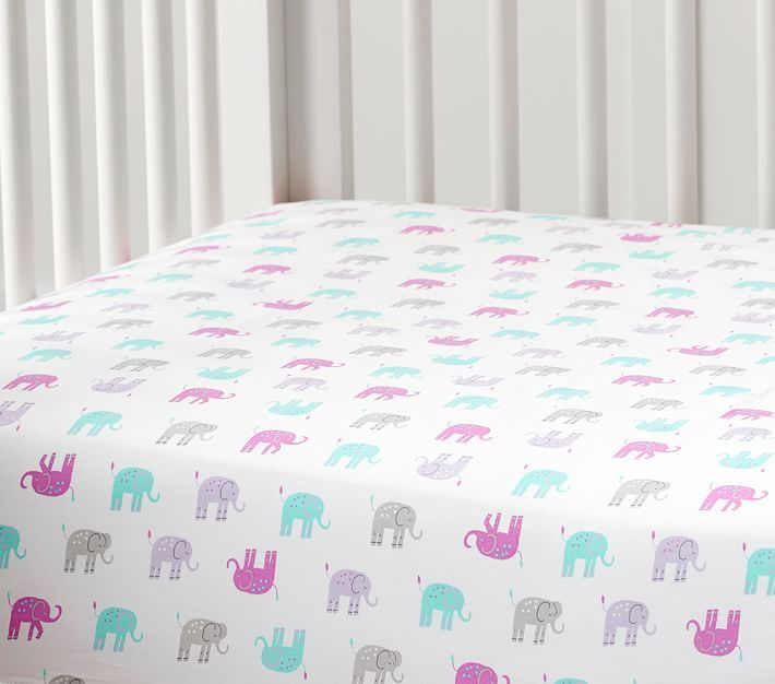 Harper Elephant Crib Fitted Sheet