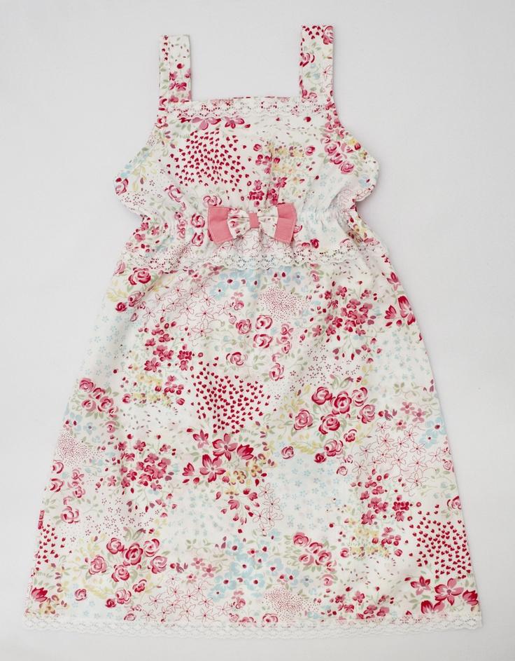 Vestido Nanda: de poplín de algodón con detalles de puntillas y moño.