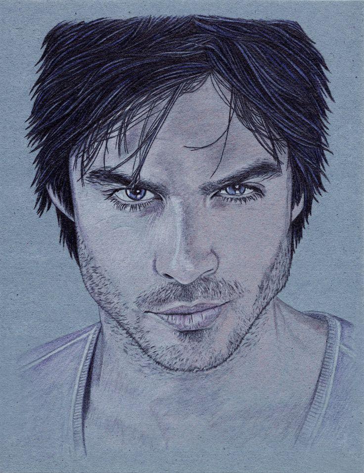 Scribble Drawing Portraits : Damon salvatore ian somerhalder portrait tvd