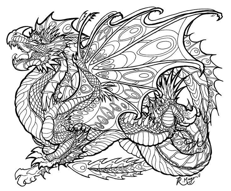 Dragon Too Mandala MeditationColouring PagesColoring SheetsColoring BooksAdult ColoringDragon