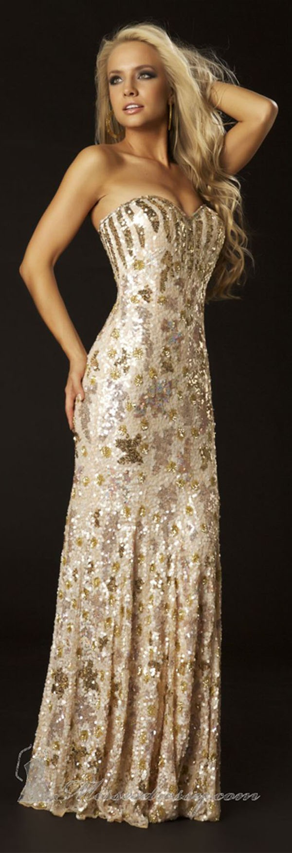 Mac Duggal Champagne Sequin Gown