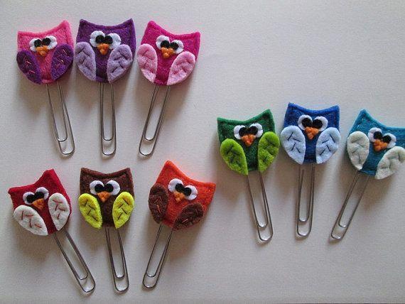 Owl Paper clips - Planner accessories - felt bookmarks- Owl bookmarks - Gift for readers - Handmade - Set di 3 clip con Gufo in feltro  Accessori di TinyFeltHeart
