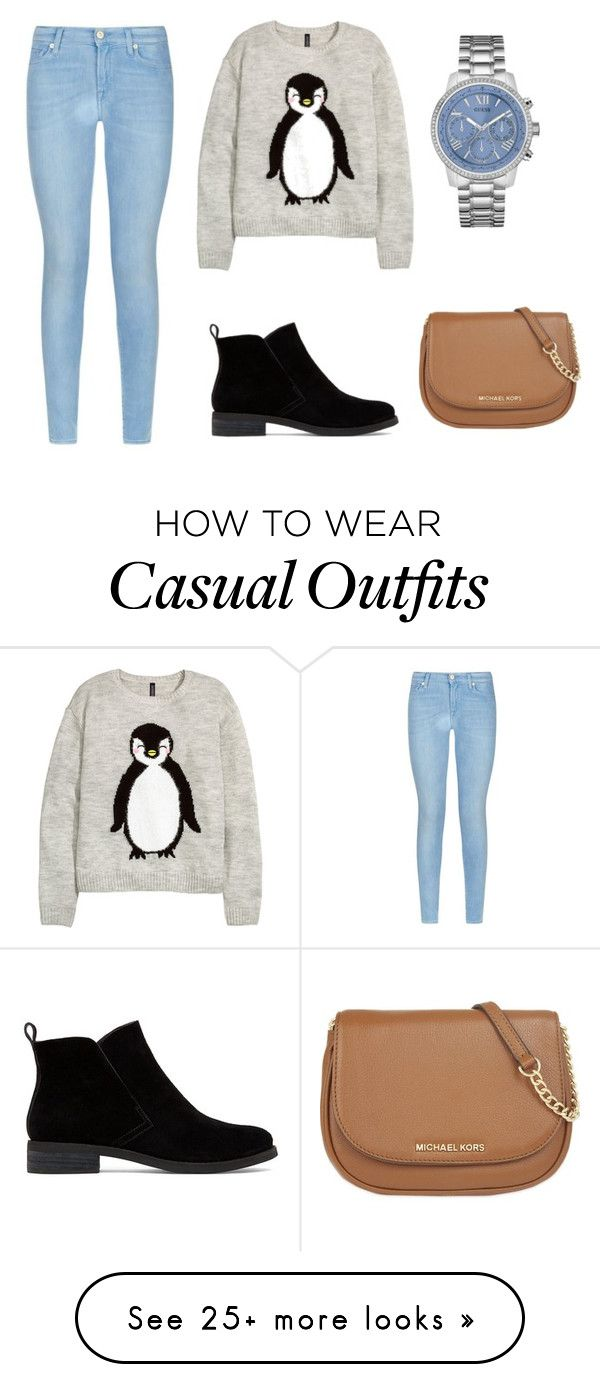 """""""Casual Outfit"""" by alina-w on Polyvore featuring 7 For All Mankind, H&M, GUESS, Lucky Brand, MICHAEL Michael Kors, women's clothing, women's fashion, women, female and woman"""