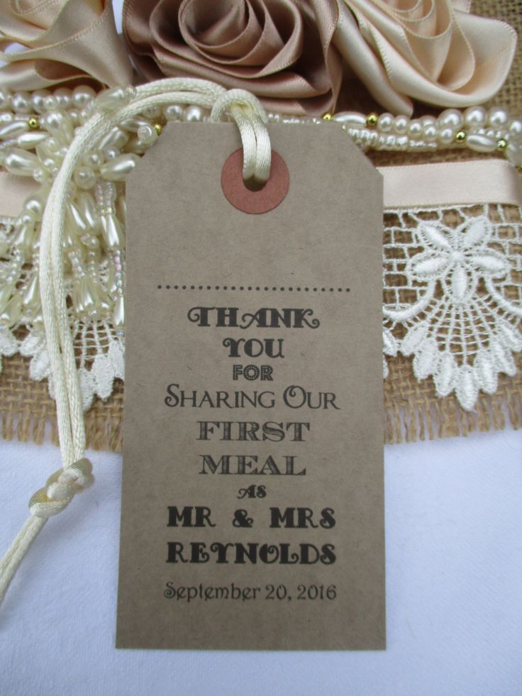 wedding custom thank you cards%0A Name Place Tags  Napkin TiesWedding Table Decor Personalised Thank You  for Sharing Our First Meal as Mr and Mrs Wedding Favors