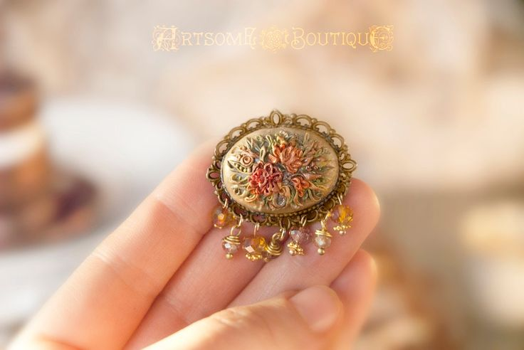 Vintage Embroidery Inspired Brooch, Shabby Chic Brooch, Handmade Polymer Clay Brooch, Trendy Brooch, Polymer Clay Filigree, Gift for Her by ArtsomeBoutique on Etsy