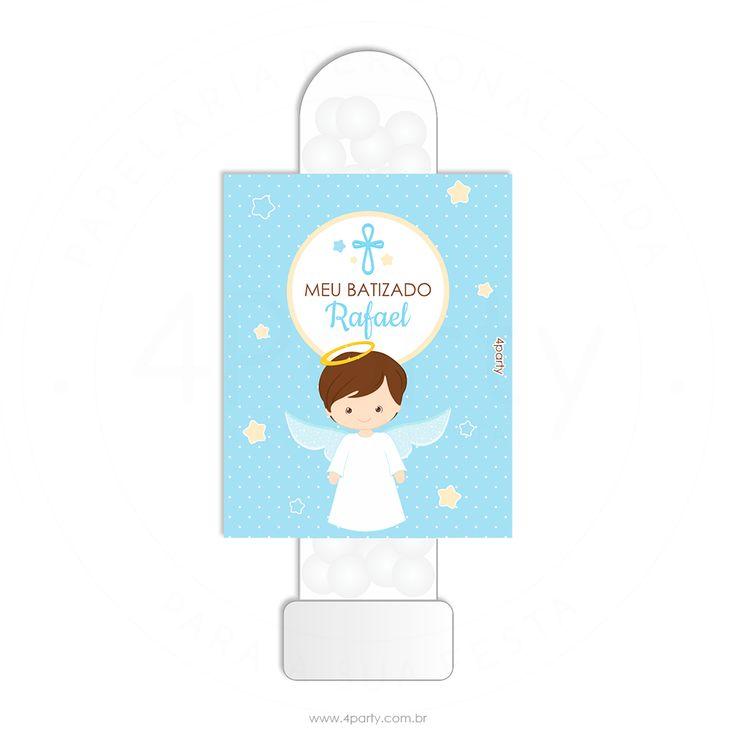 Armario Horizontal Inox ~ Adesivo para tubete Anjinho 18un batizado Pinterest Tubete, Anjinho e Adesivo