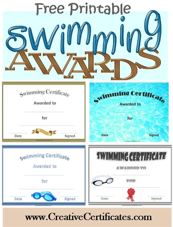 Free printable swimming certificates and awards