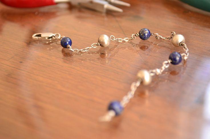 Pulsera de lapislázuli y plata