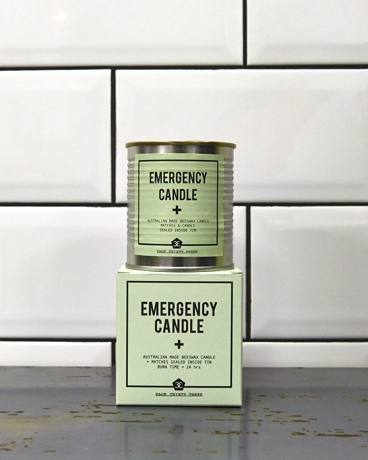 EMERGENCY CANDLE // PAGE THIRTY THREE  Australian made Organic Beeswax Candle, sealed inside airtight & waterproof tin can. In case of emergency, lift ring, pull lid, strike match & light. Safety matches enclosed. BURN TIME: 24hours.  $34.95