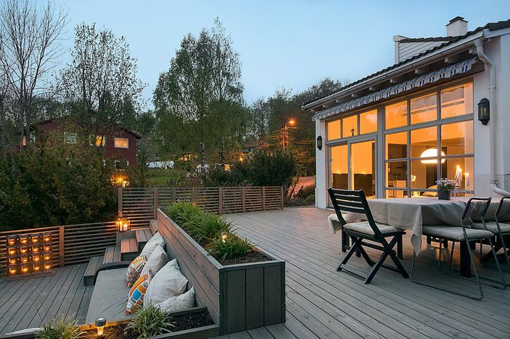 Outdoor wood deck with flower wood box
