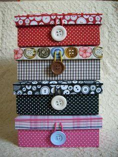 Vários modelos de tecidos de caixa de costura