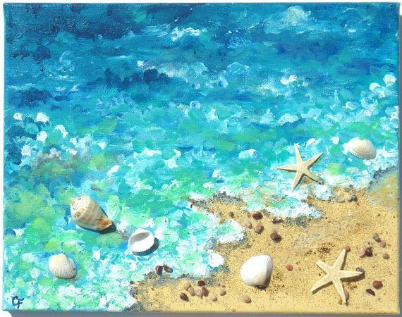 Beach decor for your home   Here is a painting with dimension!  This is a fun beach painting done in aqua and turquoise tones throughout the water, with the close-up waves crashing on the shore. The sea has brought up real starfish and shells. These are set down with a high quality glue, and the painting is then sealed with varnish. It can be easily dusted as needed with a feather duster.  The painting measures 11x14, with the staple free sides are a continuum of the painting, so framing is…