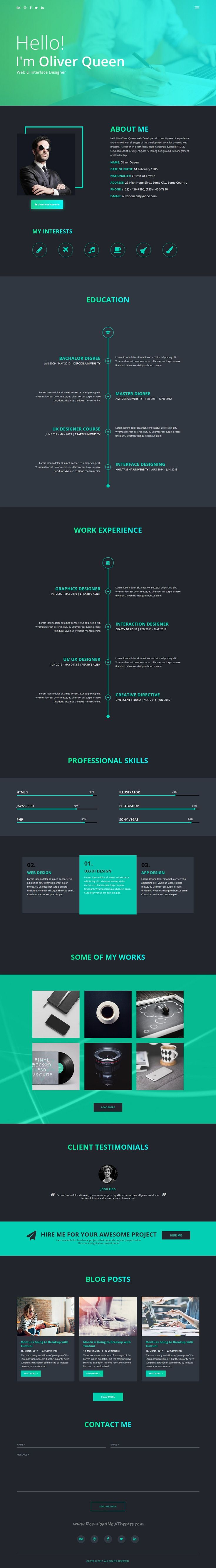 ComeOut is clean and modern design responsive #HTML5 template for creative #CV #resume and #portfolio showcase website download now..