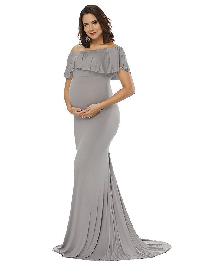 c033be979faf8 JustVH Women's Off Shoulder Ruffles Maternity Slim Fit Gown Maxi  Photography Dress,Gray,Large