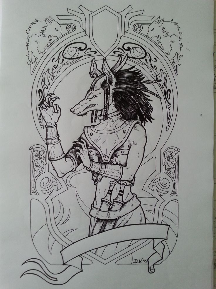 Character design for my book. The Wolf Divinity, Krimlack. The shaman that turn herself on a monster!